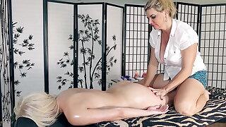 Vicky's rub-down - Cristi Ann!